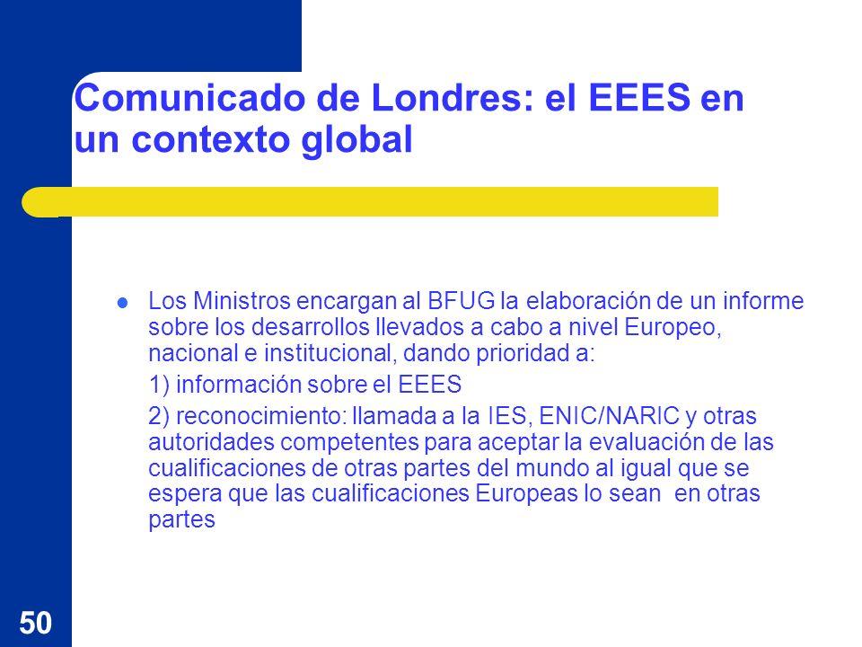 50 Comunicado de Londres: el EEES en un contexto global Los Ministros encargan al BFUG la elaboración de un informe sobre los desarrollos llevados a c