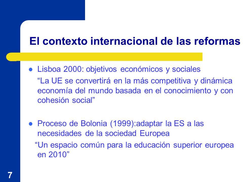 7 Lisboa 2000: objetivos económicos y sociales La UE se convertirá en la más competitiva y dinámica economía del mundo basada en el conocimiento y con cohesión social Proceso de Bolonia (1999):adaptar la ES a las necesidades de la sociedad Europea Un espacio común para la educación superior europea en 2010 El contexto internacional de las reformas