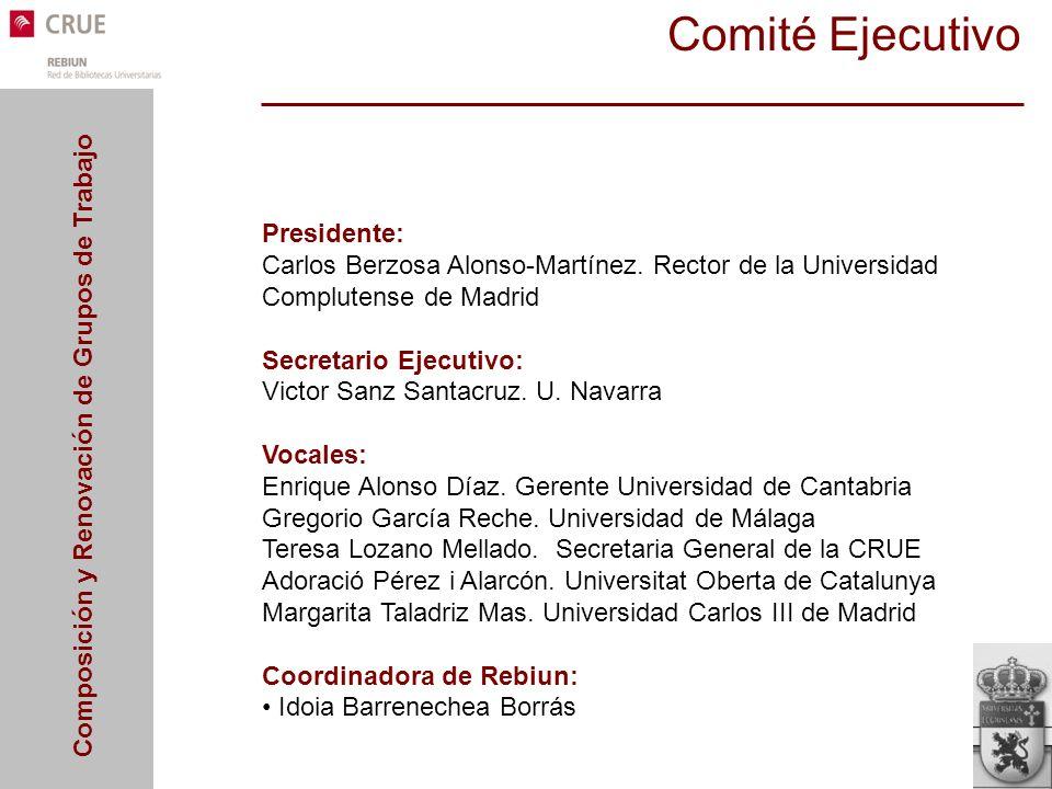 Composición y Renovación de Grupos de Trabajo Comité Ejecutivo Presidente: Carlos Berzosa Alonso-Martínez. Rector de la Universidad Complutense de Mad