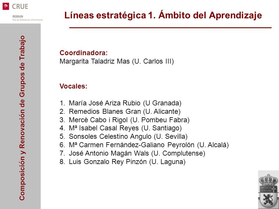 Composición y Renovación de Grupos de Trabajo Líneas estratégica 1. Ámbito del Aprendizaje Coordinadora: Margarita Taladriz Mas (U. Carlos III) Vocale
