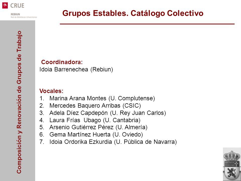 Composición y Renovación de Grupos de Trabajo Grupos Estables. Catálogo Colectivo Coordinadora: Idoia Barrenechea (Rebiun) Vocales: 1.Marina Arana Mon