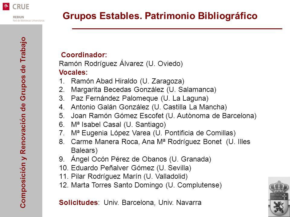 Composición y Renovación de Grupos de Trabajo Grupos Estables. Patrimonio Bibliográfico Coordinador: Ramón Rodríguez Álvarez (U. Oviedo) Vocales: 1.Ra