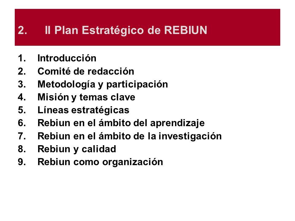 2.II Plan Estratégico de REBIUN 1.Introducción 2.Comité de redacción 3.Metodología y participación 4.Misión y temas clave 5.Líneas estratégicas 6.Rebi