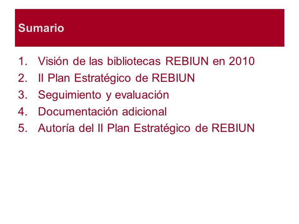 Sumario 1.Visión de las bibliotecas REBIUN en 2010 2.II Plan Estratégico de REBIUN 3.Seguimiento y evaluación 4.Documentación adicional 5.Autoría del II Plan Estratégico de REBIUN