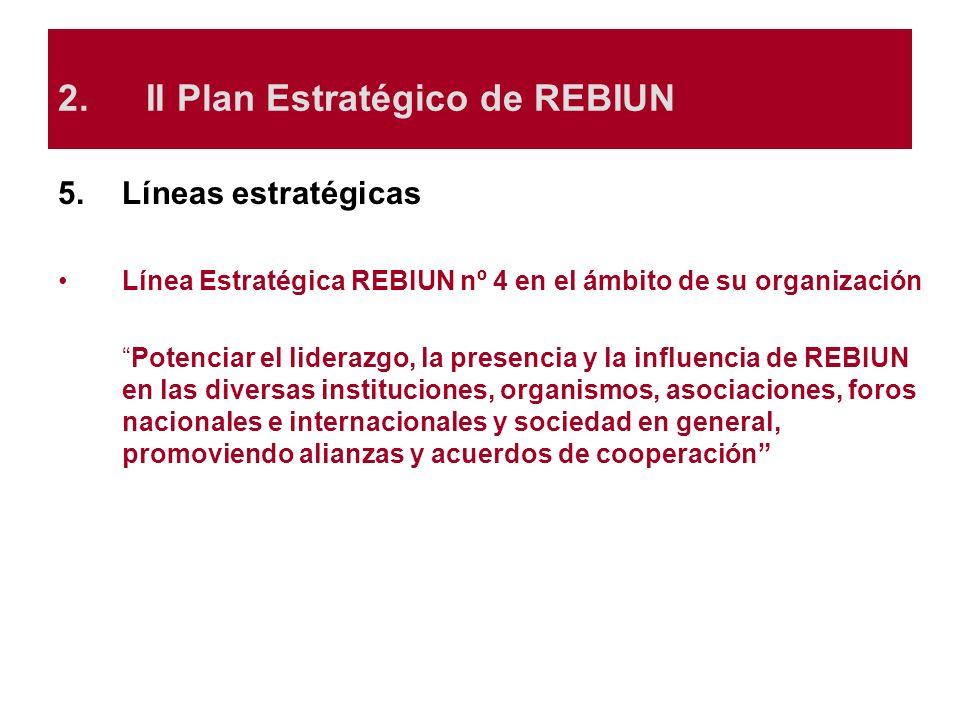 5.Líneas estratégicas Línea Estratégica REBIUN nº 4 en el ámbito de su organización Potenciar el liderazgo, la presencia y la influencia de REBIUN en
