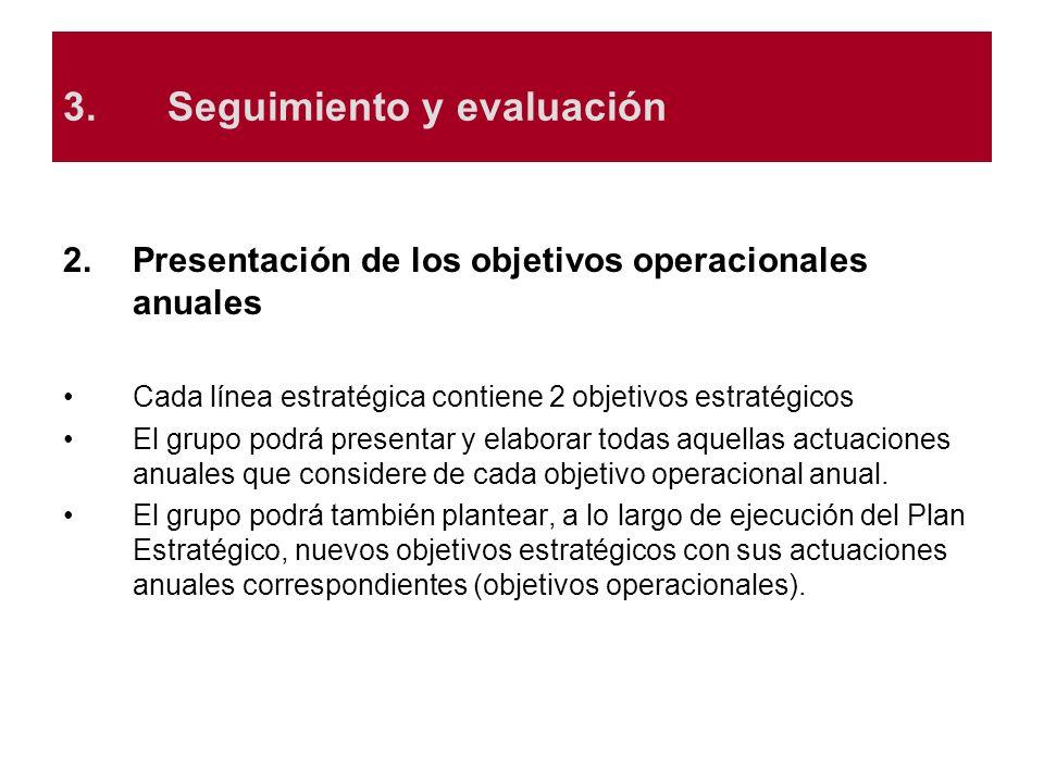 3.Seguimiento y evaluación 2.Presentación de los objetivos operacionales anuales Cada línea estratégica contiene 2 objetivos estratégicos El grupo pod