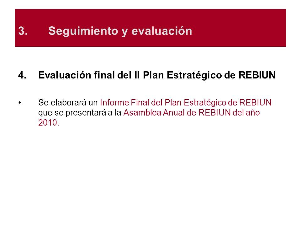 3.Seguimiento y evaluación 4.Evaluación final del II Plan Estratégico de REBIUN Se elaborará un Informe Final del Plan Estratégico de REBIUN que se pr