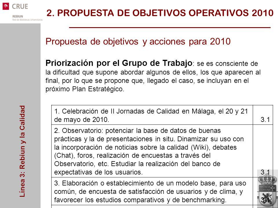 Línea 3: Rebiun y la Calidad Propuesta de objetivos y acciones para 2010 Priorización por el Grupo de Trabajo : se es consciente de la dificultad que supone abordar algunos de ellos, los que aparecen al final, por lo que se propone que, llegado el caso, se incluyan en el próximo Plan Estratégico.