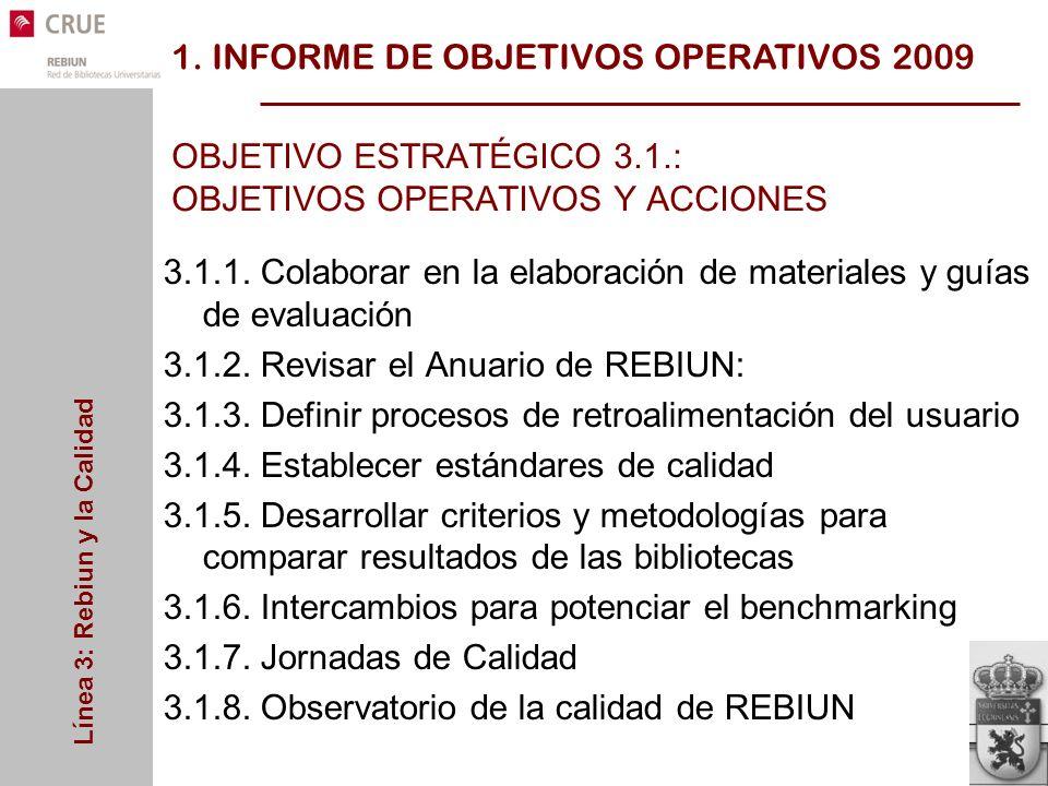 Línea 3: Rebiun y la Calidad OBJETIVO ESTRATÉGICO 3.1.: OBJETIVOS OPERATIVOS Y ACCIONES 3.1.1.