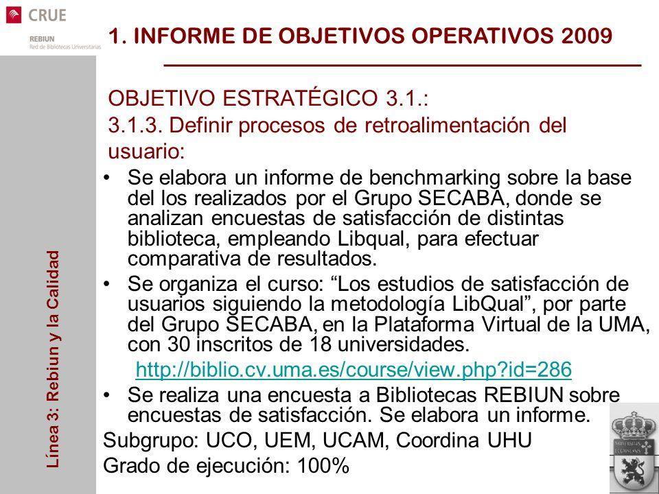 Línea 3: Rebiun y la Calidad OBJETIVO ESTRATÉGICO 3.1.: 3.1.3.