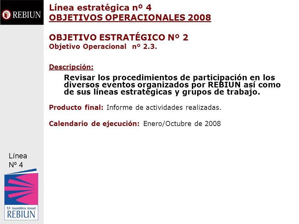Línea estratégica nº 4 OBJETIVOS OPERACIONALES 2008 OBJETIVO ESTRATÉGICO Nº 2 Objetivo Operacional nº 2.3. Descripción: Revisar los procedimientos de