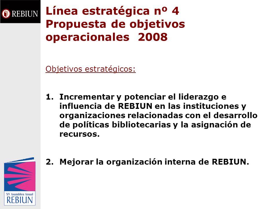 Línea estratégica nº 4 OBJETIVOS OPERACIONALES 2008 OBJETIVO ESTRATÉGICO 1 Incrementar y potenciar el liderazgo e influencia de REBIUN en las instituciones y organizaciones relacionadas con el desarrollo de políticas bibliotecarias y la asignación de recursos.