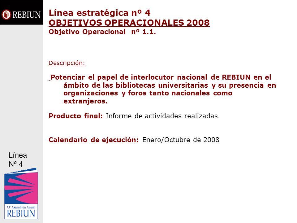 Línea estratégica nº 4 OBJETIVOS OPERACIONALES 2008 Objetivo Operacional nº 1.1. Descripción: Potenciar el papel de interlocutor nacional de REBIUN en