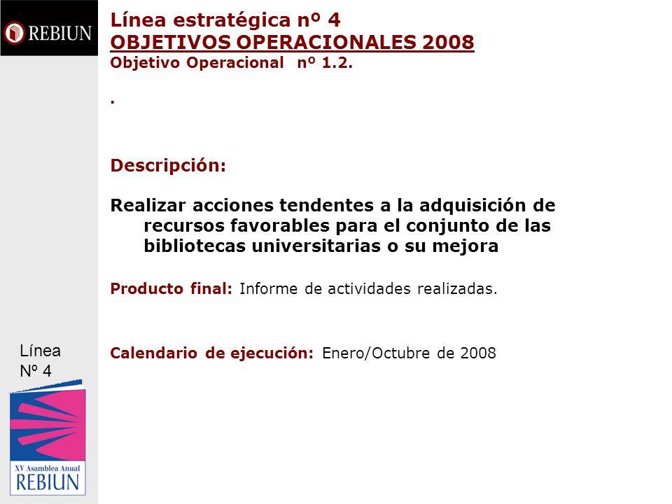 Línea estratégica nº 4 OBJETIVOS OPERACIONALES 2008 Objetivo Operacional nº 1.2.. Descripción: Realizar acciones tendentes a la adquisición de recurso