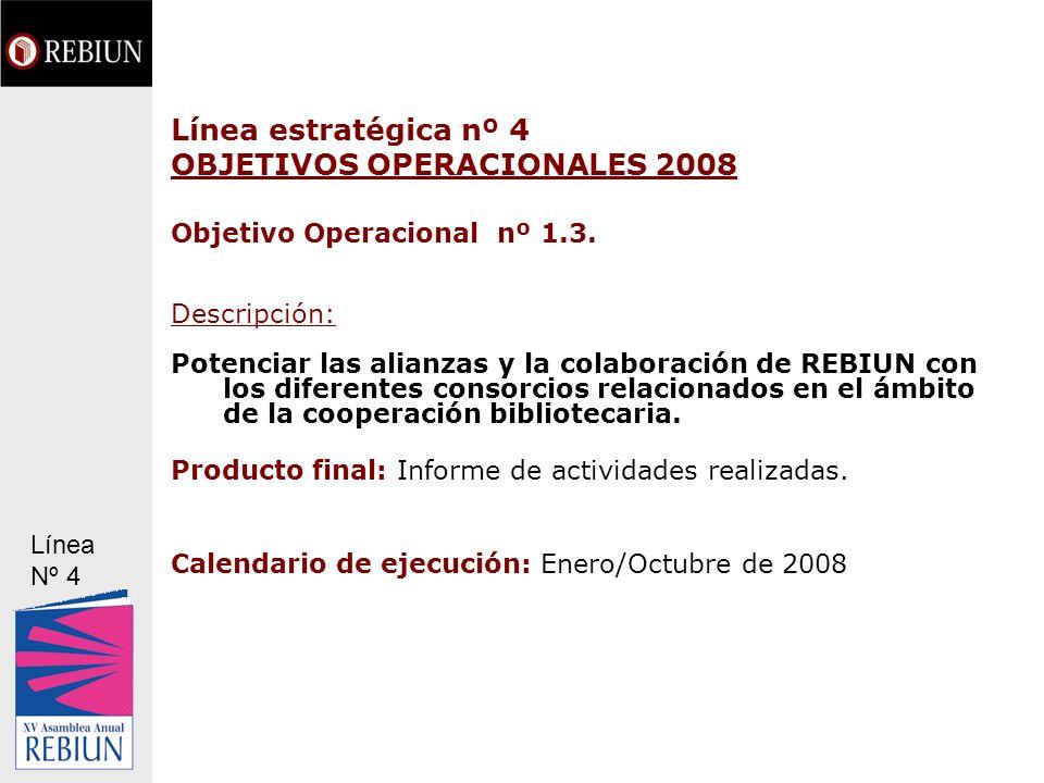 Línea estratégica nº 4 OBJETIVOS OPERACIONALES 2008 Objetivo Operacional nº 1.3. Descripción: Potenciar las alianzas y la colaboración de REBIUN con l