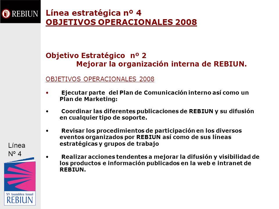 Línea estratégica nº 4 OBJETIVOS OPERACIONALES 2008 Objetivo Estratégico nº 2 Mejorar la organización interna de REBIUN. OBJETIVOS OPERACIONALES 2008