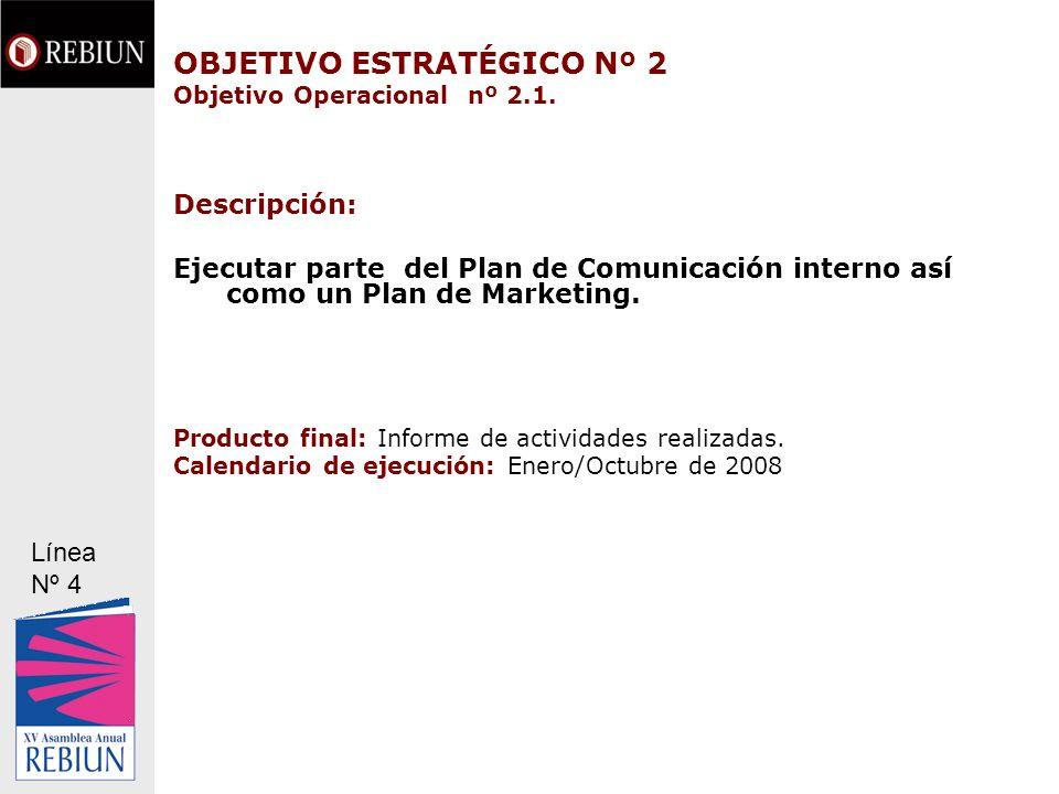 OBJETIVO ESTRATÉGICO Nº 2 Objetivo Operacional nº 2.1. Descripción: Ejecutar parte del Plan de Comunicación interno así como un Plan de Marketing. Pro