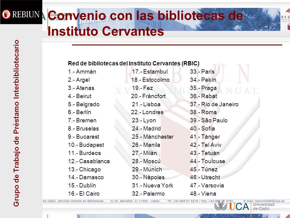 Grupo de Trabajo de Préstamo Interbibliotecario Convenio con las bibliotecas de Instituto Cervantes Red de bibliotecas del Instituto Cervantes (RBIC)