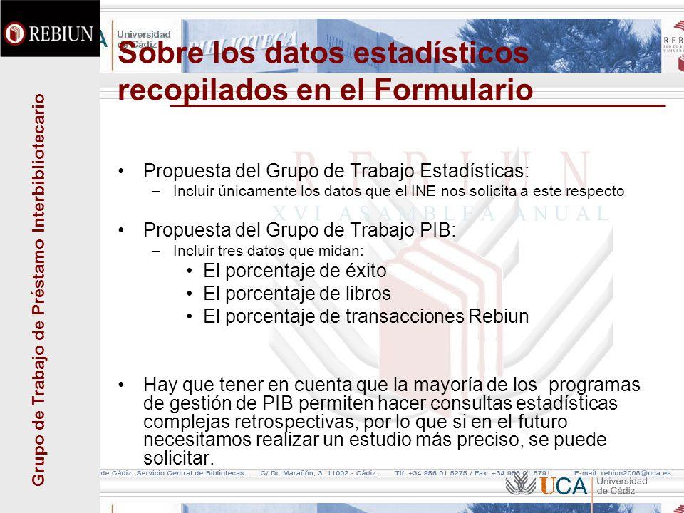 Grupo de Trabajo de Préstamo Interbibliotecario Sobre los datos estadísticos recopilados en el Formulario Propuesta del Grupo de Trabajo Estadísticas: