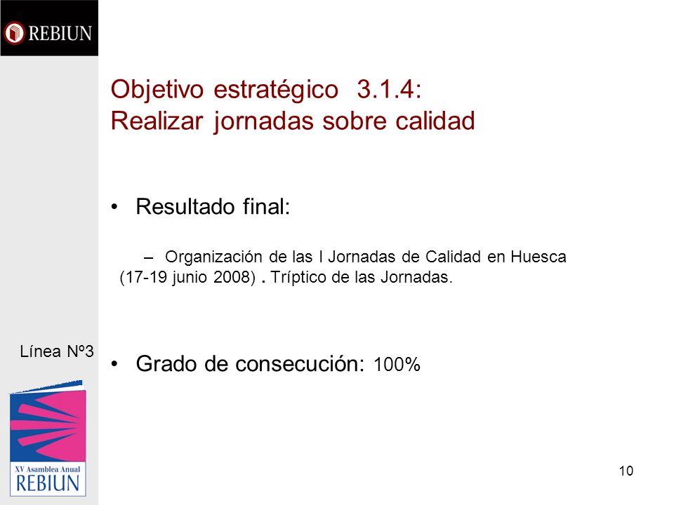 10 Objetivo estratégico 3.1.4: Realizar jornadas sobre calidad Resultado final: –Organización de las I Jornadas de Calidad en Huesca (17-19 junio 2008).