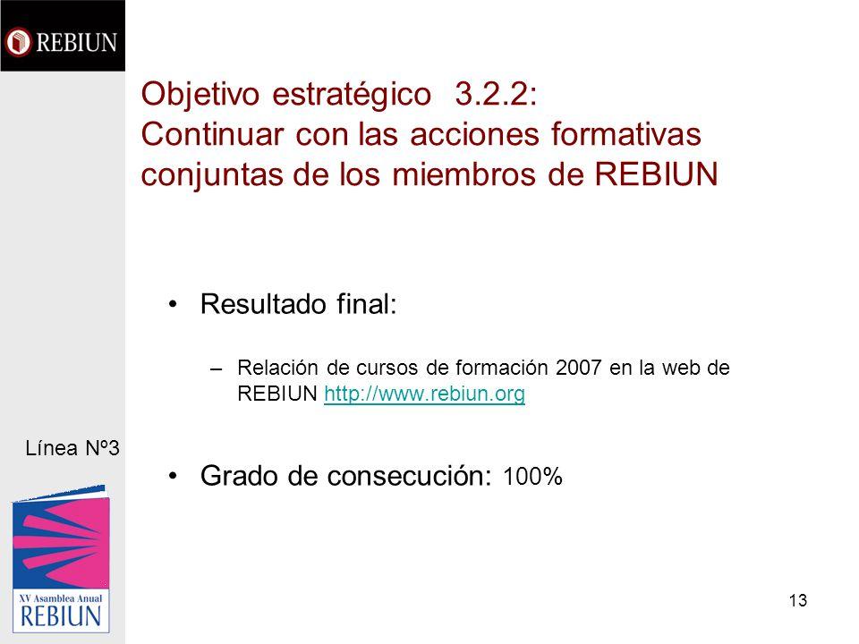13 Objetivo estratégico 3.2.2: Continuar con las acciones formativas conjuntas de los miembros de REBIUN Resultado final: –Relación de cursos de formación 2007 en la web de REBIUN http://www.rebiun.orghttp://www.rebiun.org Grado de consecución: 100% Línea Nº3