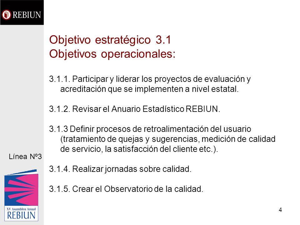 4 Objetivo estratégico 3.1 Objetivos operacionales: 3.1.1.