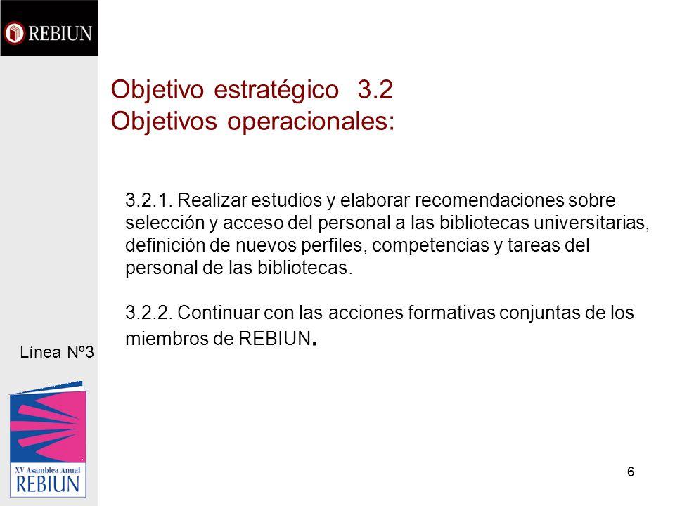 6 Objetivo estratégico 3.2 Objetivos operacionales: 3.2.1.
