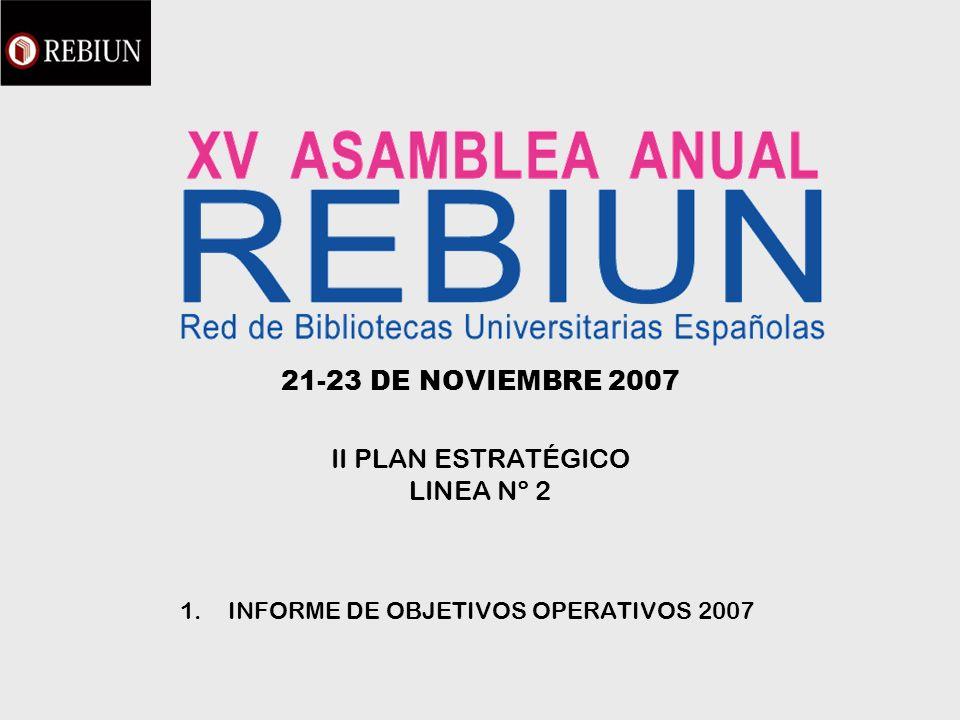 21-23 DE NOVIEMBRE 2007 II PLAN ESTRATÉGICO LINEA Nº 2 1.INFORME DE OBJETIVOS OPERATIVOS 2007