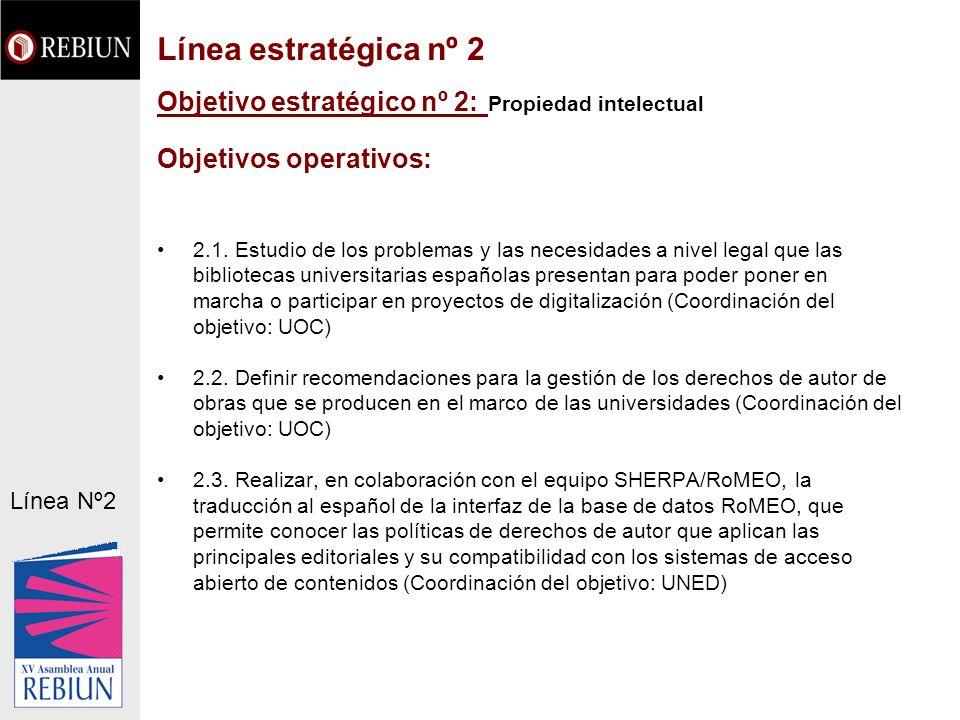 Objetivo estratégico nº 2: Propiedad intelectual Objetivos operativos: 2.1. Estudio de los problemas y las necesidades a nivel legal que las bibliotec