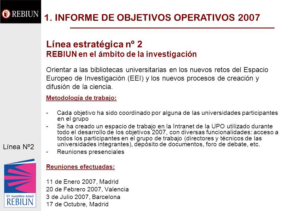 1. INFORME DE OBJETIVOS OPERATIVOS 2007 Línea estratégica nº 2 REBIUN en el ámbito de la investigación Orientar a las bibliotecas universitarias en lo