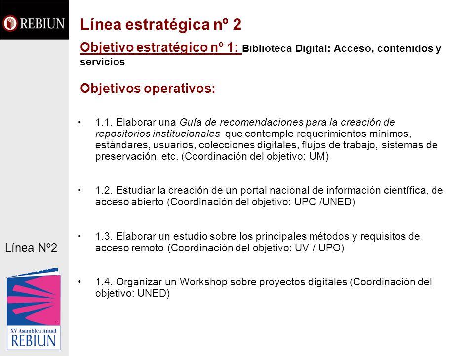 Objetivo estratégico nº 1: Biblioteca Digital: Acceso, contenidos y servicios Objetivos operativos: 1.1. Elaborar una Guía de recomendaciones para la