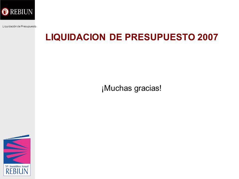 LIQUIDACION DE PRESUPUESTO 2007 ¡Muchas gracias! Liquidación de Presupuesto