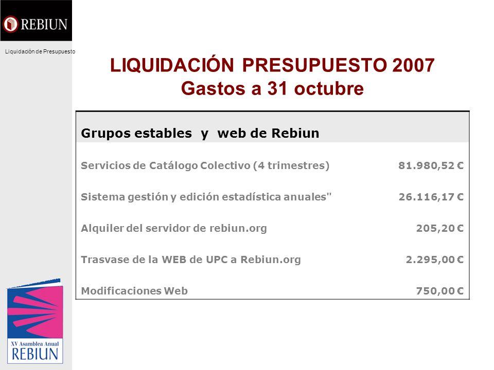 LIQUIDACIÓN PRESUPUESTO 2007 Gastos a 31 octubre Grupos estables y web de Rebiun Servicios de Catálogo Colectivo (4 trimestres)81.980,52 Sistema gesti