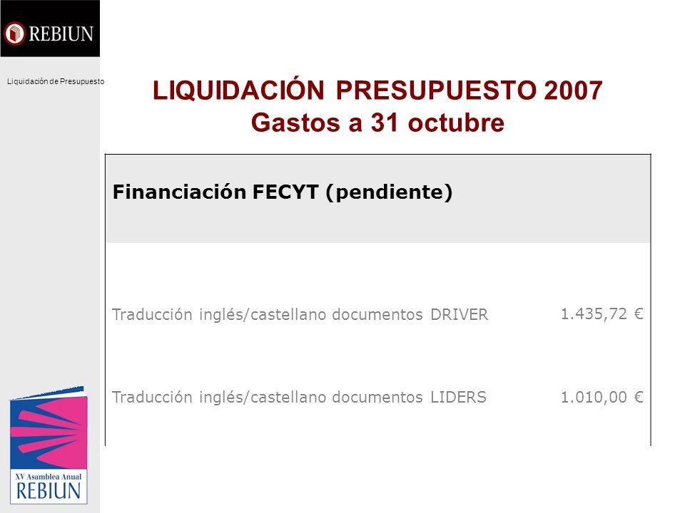 LIQUIDACIÓN PRESUPUESTO 2007 Gastos a 31 octubre Financiación FECYT (pendiente) Traducción inglés/castellano documentos DRIVER1.435,72 Traducción ingl