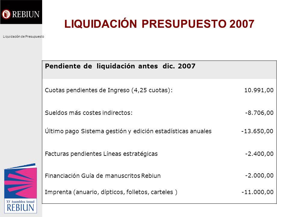 LIQUIDACIÓN PRESUPUESTO 2007 Pendiente de liquidación antes dic. 2007 Cuotas pendientes de Ingreso (4,25 cuotas):10.991,00 Sueldos más costes indirect