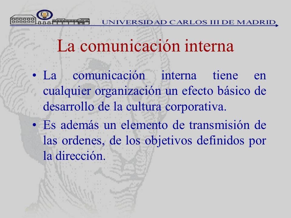 La comunicación interna La comunicación interna tiene en cualquier organización un efecto básico de desarrollo de la cultura corporativa. Es además un