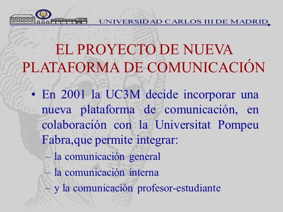 EL PROYECTO DE NUEVA PLATAFORMA DE COMUNICACIÓN En 2001 la UC3M decide incorporar una nueva plataforma de comunicación, en colaboración con la Univers