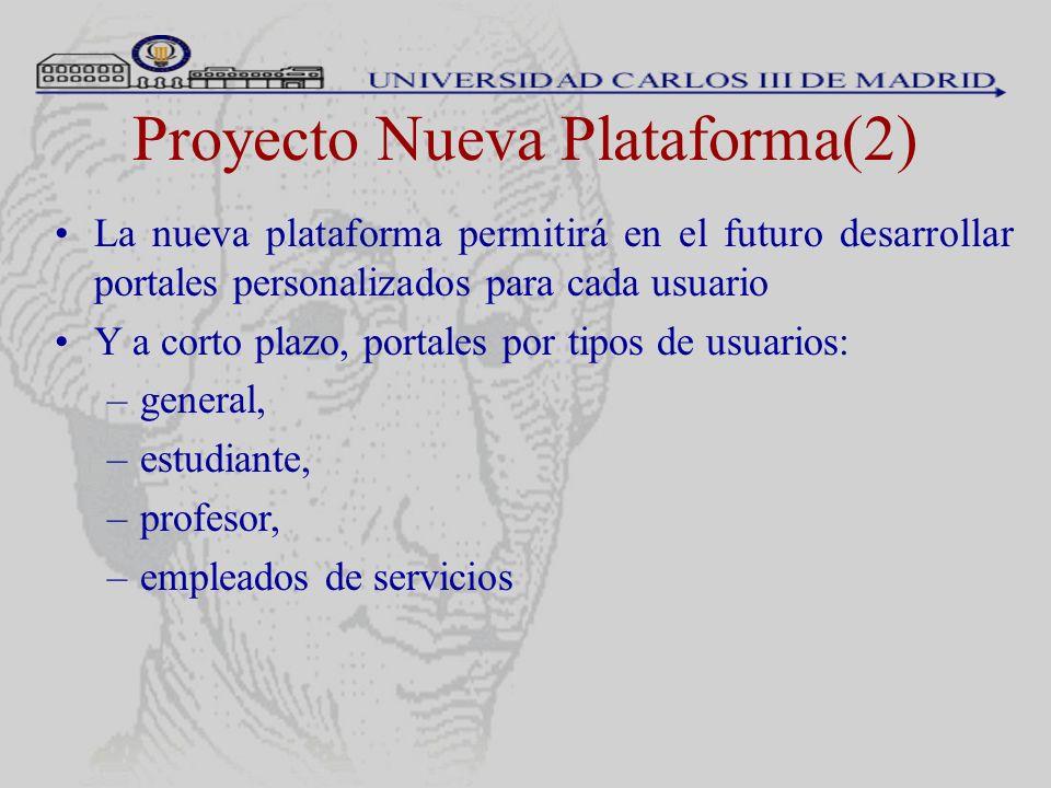 Proyecto Nueva Plataforma(2) La nueva plataforma permitirá en el futuro desarrollar portales personalizados para cada usuario Y a corto plazo, portale