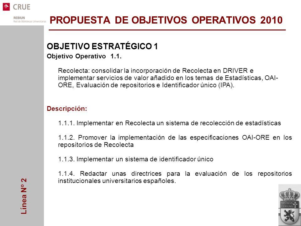 Línea Nº 2 OBJETIVO ESTRATÉGICO 1 Objetivo Operativo 1.1.