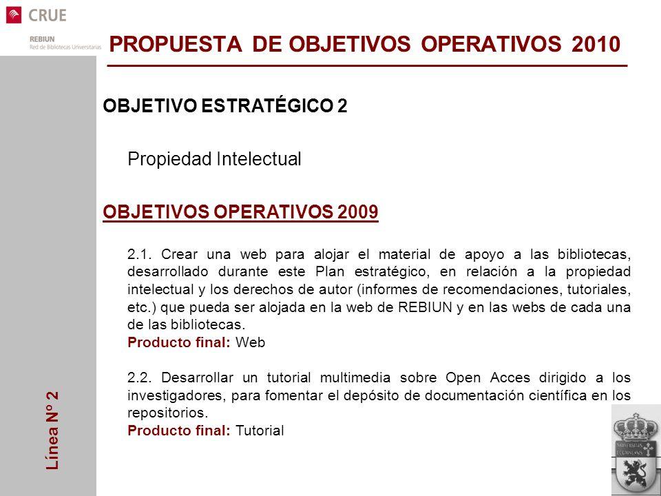 Línea Nº 2 OBJETIVO ESTRATÉGICO 2 Propiedad Intelectual OBJETIVOS OPERATIVOS 2009 2.1.
