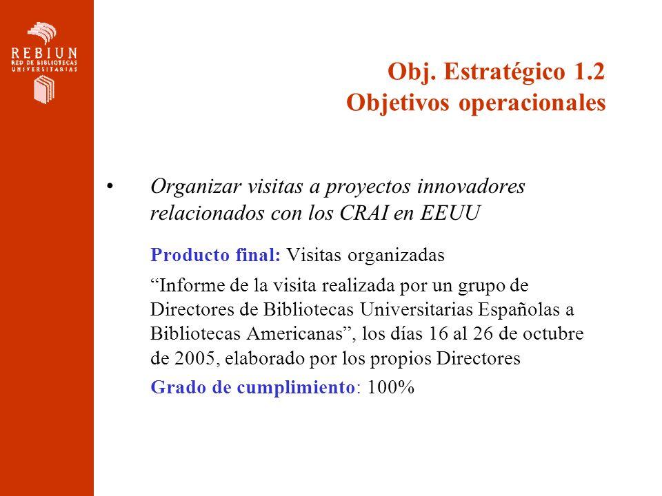 Obj. Estratégico 1.2 Objetivos operacionales Organizar visitas a proyectos innovadores relacionados con los CRAI en EEUU Producto final: Visitas organ