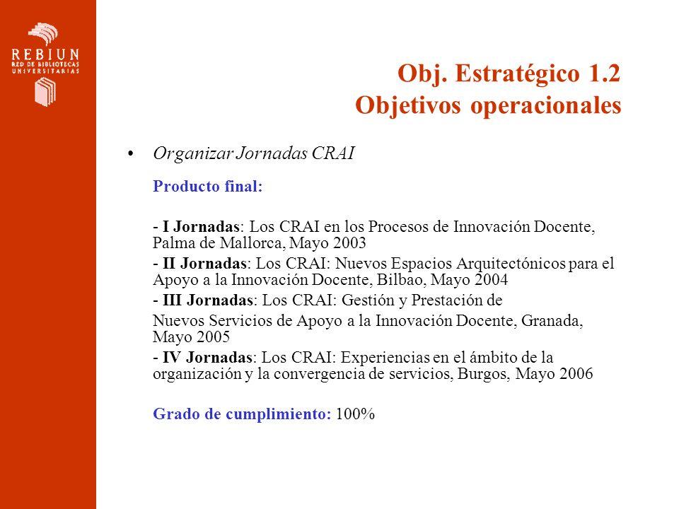 Obj. Estratégico 1.2 Objetivos operacionales Organizar Jornadas CRAI Producto final: - I Jornadas: Los CRAI en los Procesos de Innovación Docente, Pal