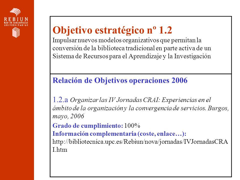 Objetivo estratégico nº 1.2 Impulsar nuevos modelos organizativos que permitan la conversión de la biblioteca tradicional en parte activa de un Sistem