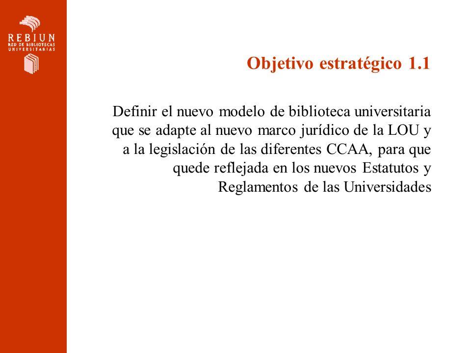 Objetivo estratégico 1.1 Definir el nuevo modelo de biblioteca universitaria que se adapte al nuevo marco jurídico de la LOU y a la legislación de las