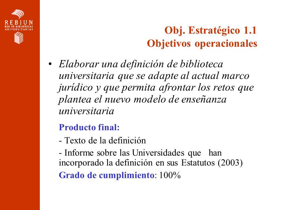 Obj. Estratégico 1.1 Objetivos operacionales Elaborar una definición de biblioteca universitaria que se adapte al actual marco jurídico y que permita