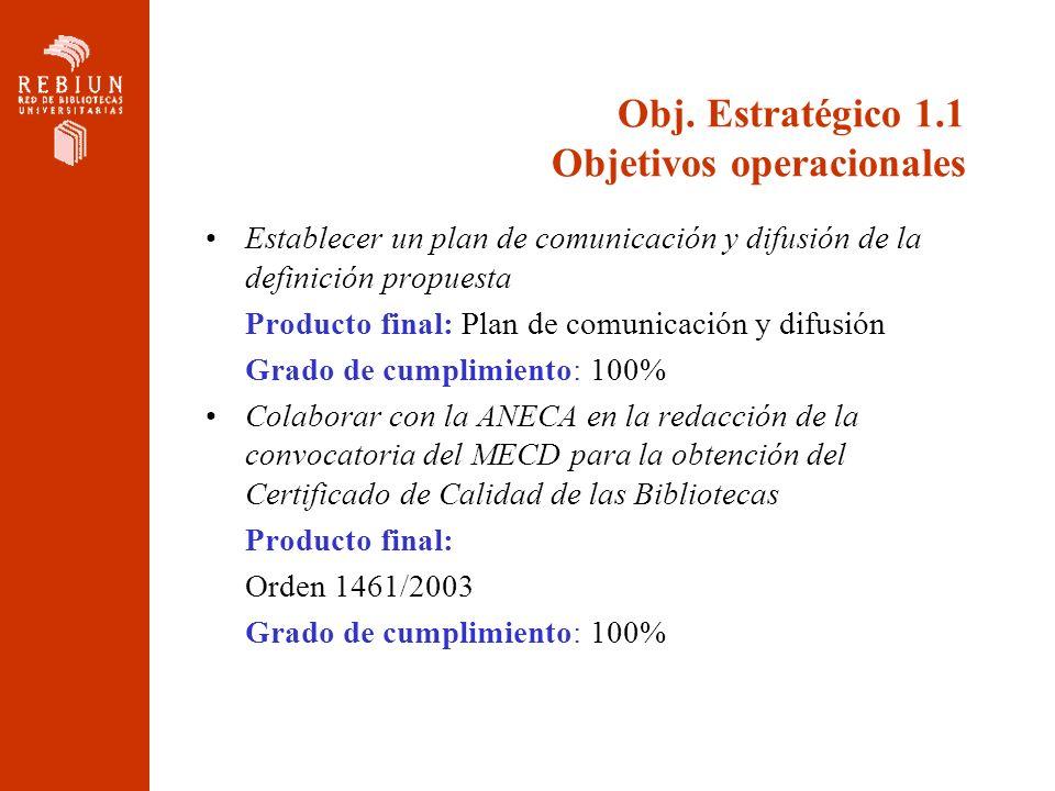 Obj. Estratégico 1.1 Objetivos operacionales Establecer un plan de comunicación y difusión de la definición propuesta Producto final: Plan de comunica