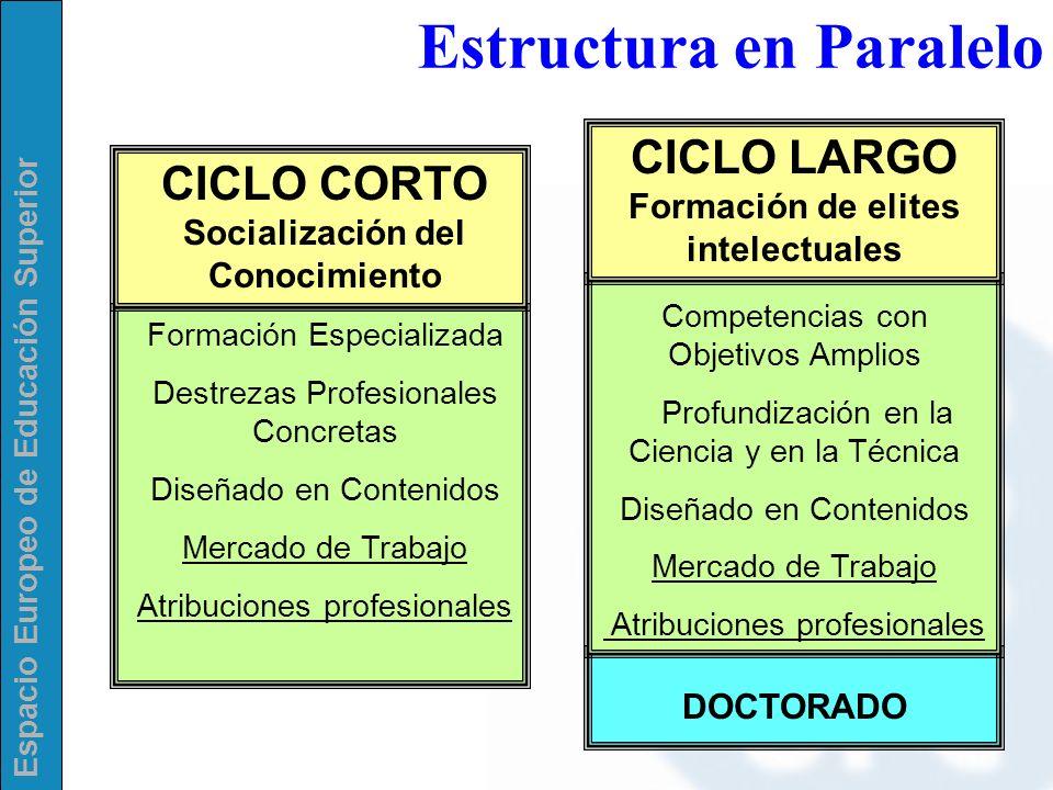 Espacio Europeo de Educación Superior CICLO CORTO Socialización del Conocimiento Formación Especializada Destrezas Profesionales Concretas Diseñado en