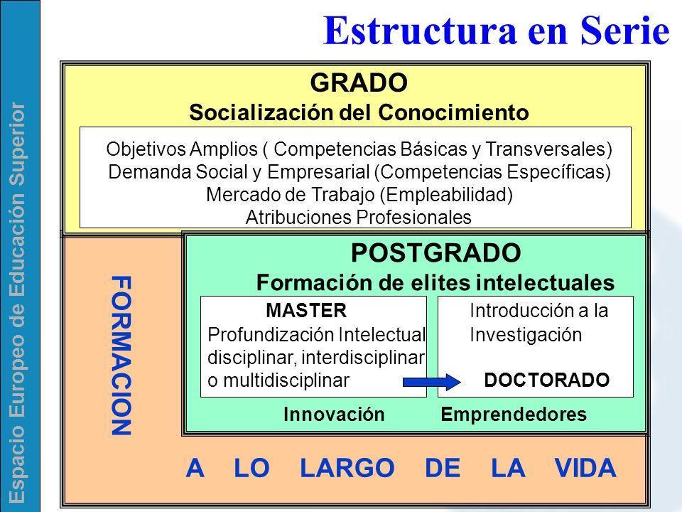 Espacio Europeo de Educación Superior POSTGRADO Formación de elites intelectuales MASTERIntroducción a la Profundización Intelectual Investigación dis