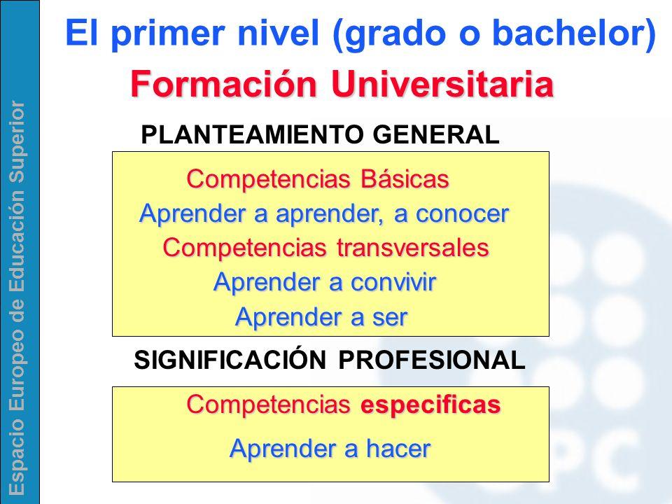 Espacio Europeo de Educación Superior Formación Universitaria Formación Universitaria PLANTEAMIENTO GENERAL Competencias Básicas Aprender a aprender,