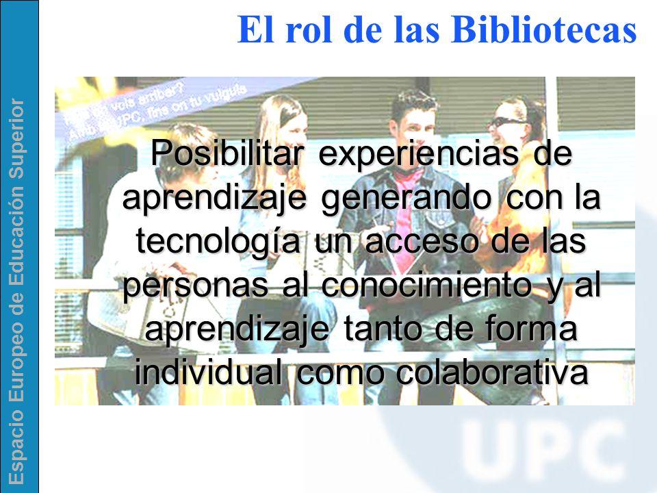 Espacio Europeo de Educación Superior Posibilitar experiencias de aprendizaje generando con la tecnología un acceso de las personas al conocimiento y